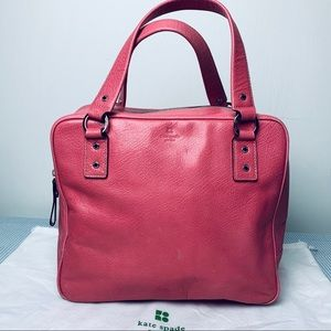 Vintage Kate Spade Pink Leather Boxy Tote